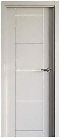 Block puerta de interior lacada en blanco DM hidrófugo. Batiente de 90x20 + tapeta lisa de 220x90x12 / 10. Herrajes color Inox/Latón/Negro/Cuero (manilla incluida).: Amazon.es: Bricolaje y herramientas
