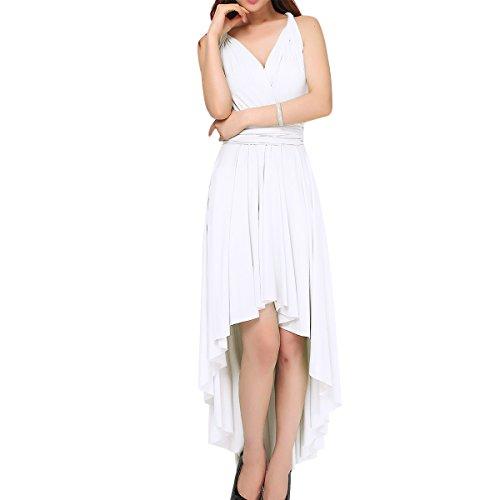 Mujer Vestido de Noche Falda Larga Verano Fiesta Elegante Dama de Honor Multi-Manera Transformer/Infinity Sin Mangas Boho Maxi V-Cuello Vestidos de Cóctel Piso-Longitud Hi-lo Vendimia Dresses Blanco