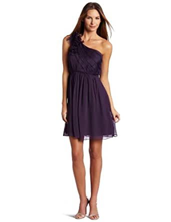 maxandcleo Women's One Shoulder Cocktail Dress, Eggplant, 2