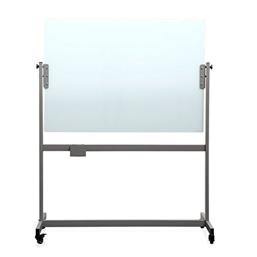 U Brands Glass Dry Erase Board, Double-Sided Rolling Easel, 47 x 35 Inches, Casters Included, White Frosted Surface, Frameless by U Brands