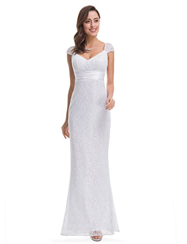 Ever-Pretty Womens Elegant Floor Length Lace Simple Wedding Dress 14 US White