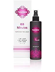 Self Tanning Fast Acting Liquid Solution 60 Minutes by Fake Bake | 1 Hour For a Golden Tan, 2 Hours For a Bronze Tan, 3 Hours for a Darker Tan | 8 fl oz
