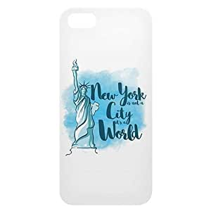 Loud Universe Apple iPhone 5/5s New York is not a City It's a World Print 3D Wrap Around Back Case - White/Blue