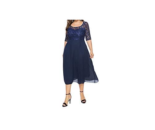 (Dress Women Autumn Summer Lace Dress Round Collar Chiffon Joint Mid-Calf Printing Sexy Dress,Navy Blue,4XL)