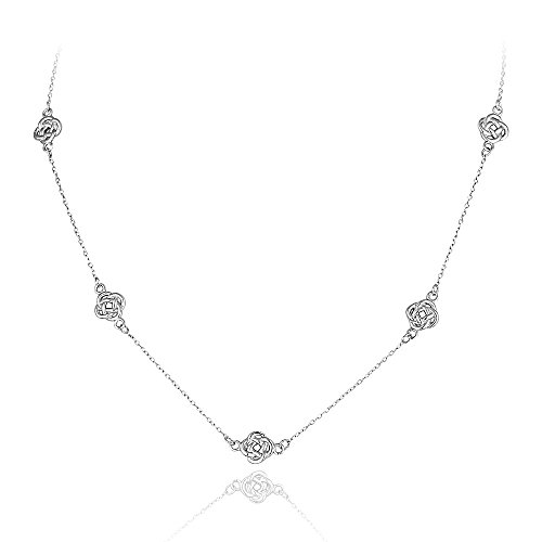 Sterling Silver Polished Love Knot Flower Station Chain Necklace (Knot Love Polished)