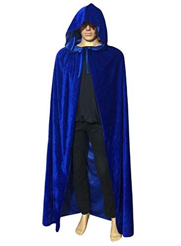 ECITY Unisex Adult Women/Man Hooded Cloak Role Play Costume Cosplay Christmas Cape (Medium (51.2 inch=130cm), Blue)
