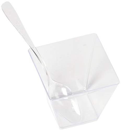bb85228712ff Professional Grade 2 oz Clear Plastic Dessert Cups (50-Pack) with Mini  Spoons by Market Lane