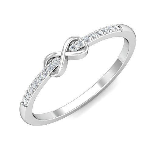 (KuberBox 1/10 Carat Natural Diamonds (I-J Color, I1 Clarity) 10K Solid White Gold Infinity Love Knot Ring (Size 6 1/4) Rhodium Plated For Valentine's Day)