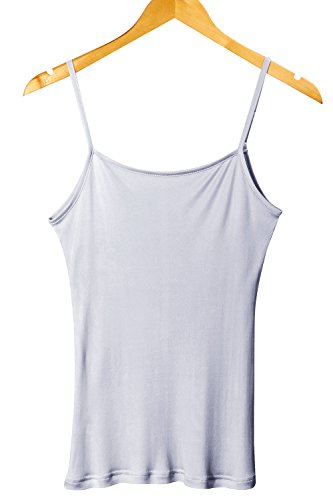 XZ-Rain Women's 100% Pure Mulberry Silk Camisole Top Cami Chemise (Silvergrey, ()