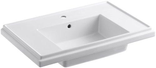 KOHLER K-2758-1-0 Tresham 30-Inch Pedestal Bathroom Sink Basin with Single-Hole Faucet Drilling, White 30 Tresham Pedestal Lavatory
