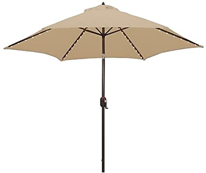 Tropishade Tropilight LED Lighted 9 ft Bronze Aluminum Market Umbrella with  Beige Polyester Cover - Amazon.com : Tropishade Tropilight LED Lighted 9 Ft Bronze Aluminum