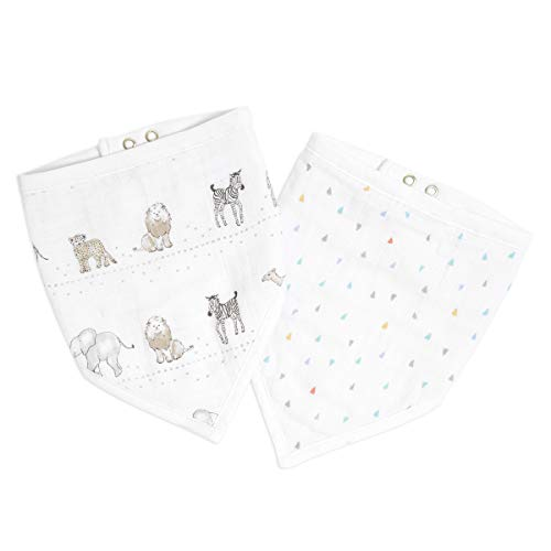 aden + anais Essentials Bandana Baby Bib, 100% Cotton Muslin, 3 Layer Burp Cloth, Super Soft & Absorbent for Infants, Newborns and Toddlers, Adjustable with Snaps, 2 Pack, Sunshine