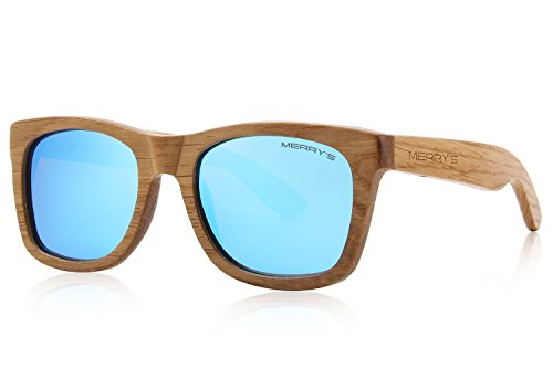 MERRY'S Men Wooden Polarized Sunglasses 100% UV Protection vintage Eyewear S5140 (Blue, ()