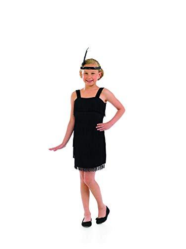 4ac5135a31 Girls Black Flapper Girl Costume Kids 20s Decades Fringed Dresses - Small