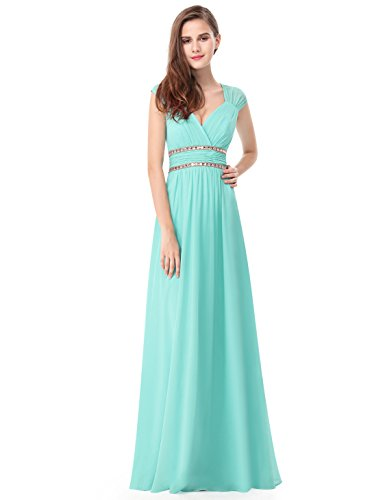 Ever-Pretty Womens Long Sleeveless V-Neck Simple Elegant Prom Dress 14 US Aqua
