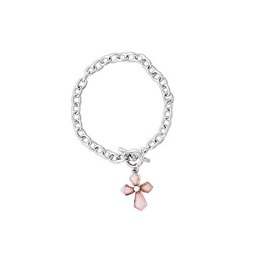 Phillips International Pink Glass Cross Toggle Bracelet with Simulated Crystal