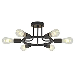 6 Lights Sputnik Chandelier Light Fixtures Modern Chandelier Lighting Black Semi Flush Mount Ceiling Light Rustic Starburst Style Ceiling Lamp for Kitchen Dining Room Foyer Hallway by BONLICHT