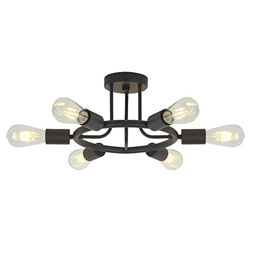 - 6 Lights Sputnik Chandelier Light Fixtures Modern Chandelier Lighting Black Semi Flush Mount Ceiling Light Rustic Starburst Style Ceiling Lamp for Kitchen Dining Room Foyer Hallway by BONLICHT