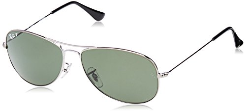 Ray-Ban RB3362 Cockpit Aviator Sunglasses, Gunmetal/Polarized Green, 59 mm (Rb2027 Predator 2)