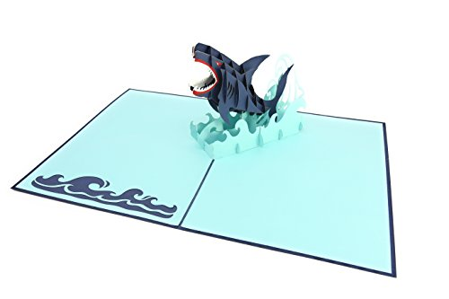 (PopLife Great White Shark 3D Fathers Day Pop Up Card - Ocean Birthday Pop Up Father's Day Card, Congratulations, Get Well - Fold Flat for Mailing - for Friend, for Daughter, for Husband, for Son)