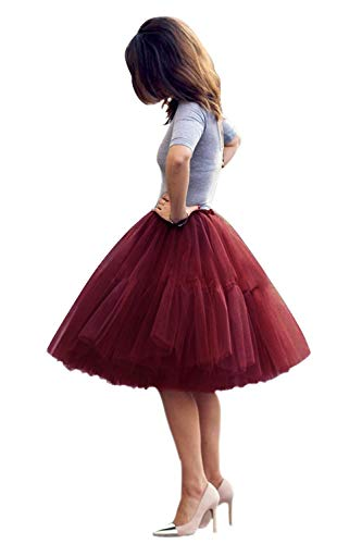 Babyonlinedress Women Knee Length 50s Petticoat Skirts Crinoline Underskirt(Burgundy,One Size)