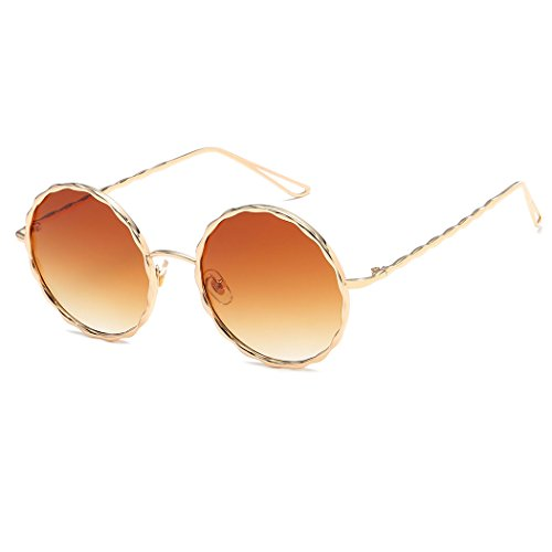 Armear Women Mens Round Sunglasses Flat Top Gradient Glitter Textured Metal Frame Sunglasses (Gold/gradient tan lens, 55) ()
