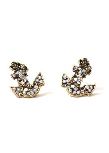 Nautical Anchor Stud Earrings Aurora Borealis Crystal Vintage Gold Tone EB44 Yacht Sailor Maritime Post