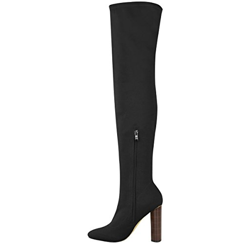 The Heels Over Size High Fashion Boots Ladies Thirsty Knit Knee High Lycra Celeb Womens Stretch Thigh Black ffz6OKy