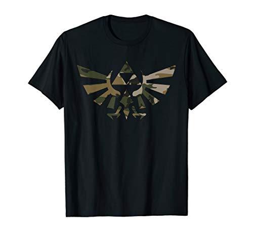 Outline Tee Camo - Nintendo Zelda Hyrule Crest Triforce Camo Outline T-Shirt