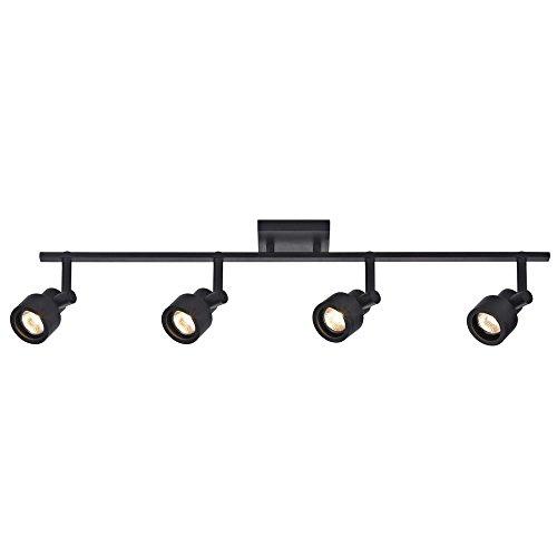 Track Light with 4 Stepped Cylinder Spot Lights - Black - GU10 Base