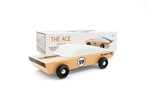 (Candylab Toys - Ace Wooden Car - Modern Vintage Racer - Solid Beech Wood)