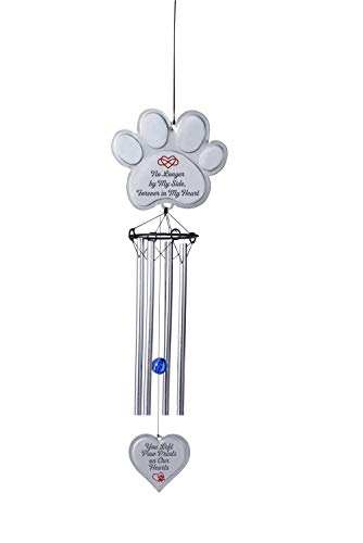 (EXPAWLORER Pet Memorial Wind Chime Gifts Pawprint Dog Remembrance Wind Chime with Heart-Shaped Pendant, Pet Loss Gifts, No Longer by My Side, Forever in My Heart)