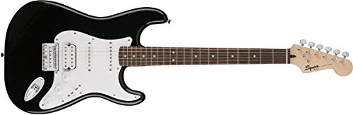 Squier by Fender Bullet Stratocaster Electric Guitar – HSS – Hard Tail – Rosewood Fingerboard – Black
