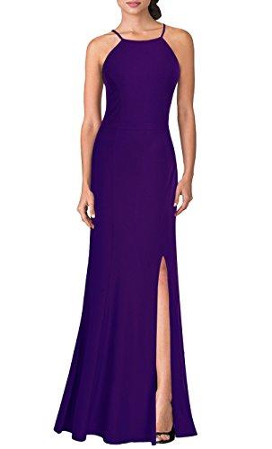 (Mmondschein Women's Vintage Halter Wedding Bridesmaid Evening Long Dress XXL Purple. )