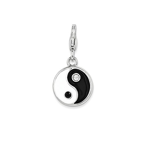 Beautiful Sterling silver 925 sterling Sterling Silver Enamel and Swarovski Elements Yin And Yang Charm