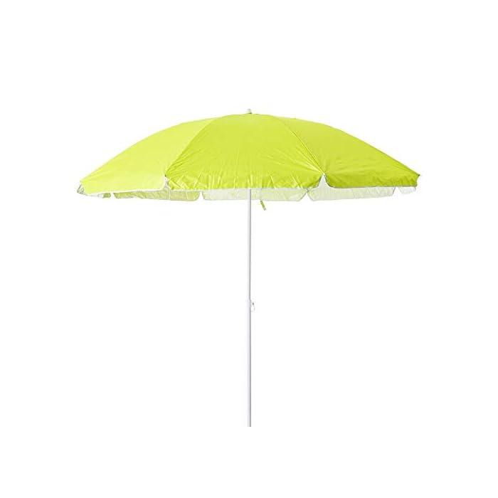 31fuyGyYzLL Esta sombrilla está hecha de protección UV y poliéster antidecoloración que es perfecta para bloquear los dañinos rayos UV del sol. Es inclinable, regulable en altura y plegable. Una propuesta novedosa, práctica y funcional para disfrutar de laplayay el sol, que te garantiza una buena sombra.