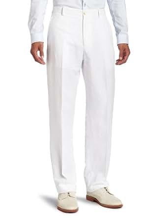 Perry Ellis Men's Linen/Cotton Herringbone Pant, Bright White, 32x29