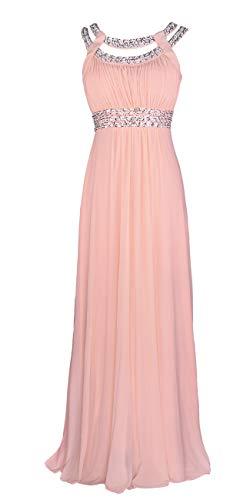 Licoco Women Sleeveless Beaded Semi-Formal Long Maxi Evening Gown Wedding Dress (Pink 70,3XLarge)