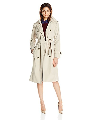 (London Fog Women's Long Midi Trench Coat, Stone, X-Large)