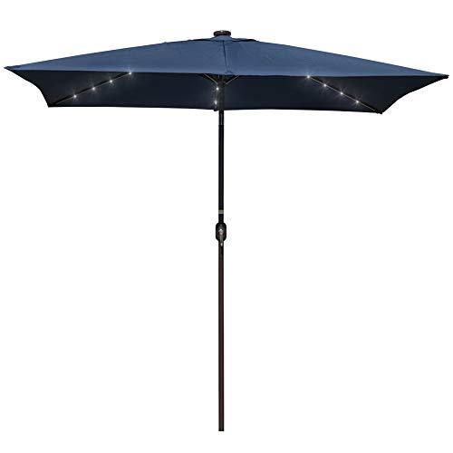 Rectangular Led Umbrella: Sundale Outdoor Rectangular Solar Powered 26 LED Lighted