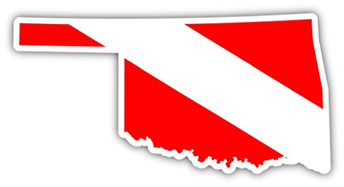 (Oklahoma State Shaped Scuba Diver Scuba Diving Dive Down Flag Bumper Sticker Decal Car Window Stickers 3x5)
