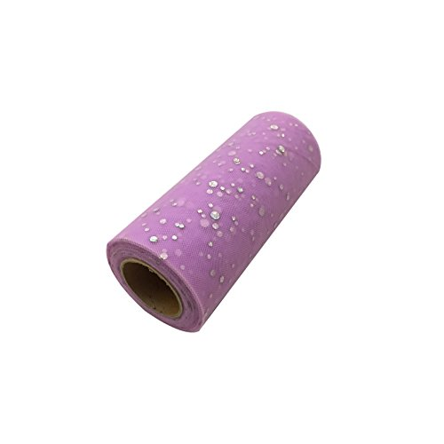 6 x 25 Yards Home Craft Glitter Tulle Roll Spool Table Runner Table Centerpieces Tutu Skirt for Wedding Baby Shower Festival Event Chair Table Decorations Jar Bouquet (Light Purple)