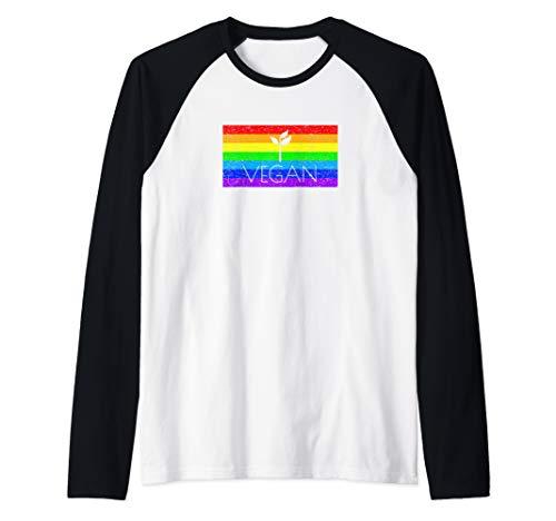 (Vegan Rainbow Flag LGBTQ Pride Gay Ally Bisexual Support Raglan Baseball Tee)