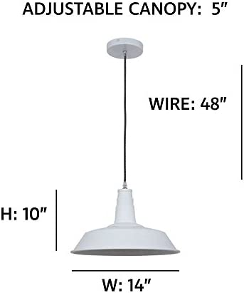 Ohr Lighting Industrial Pendant Light Hanging Warehouse Farmhouse Metal Fixture Matte White