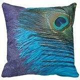Purple and Teal Peacock Pillow Cover Canvas Accent Throw Pillow Case 18 x 18 Standard Size Pillow Sham - Purple Teal Throw Pillows