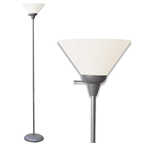 - Light Accents Mary Floor Lamp for Living Rooms - Standing Pole Light - Office and Bedroom, Bright Reading Light with White Shade - Silver