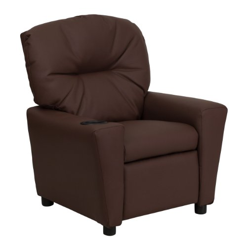 Winston Direct Kids' Series Contemporary Brown Leather Recliner with Cup Holder by Winston Direct