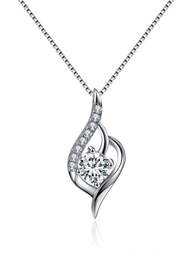 Angel Wing Necklace Sterling Silver Necklace Cubic Zircon Pendant Created April Birthstone Necklace Valentine's Day Gifts for Women Gifts for Wife Girlfriend Romantic Gifts Anniversary Gifts for Her
