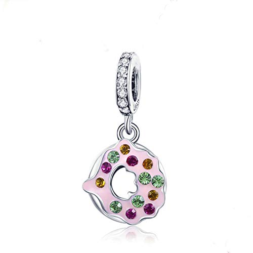 Beauty Doughnut Charm 925 Sterling Silver Dessert Crystal Sweetmeats Charm Bead for Women and Girls Bracelet or Necklace