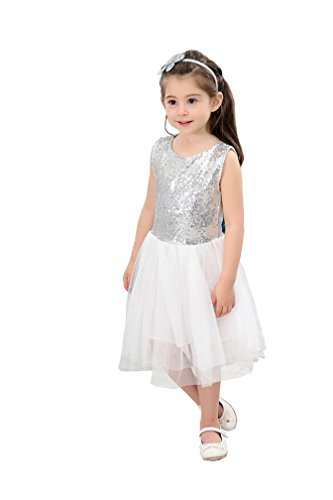 Student Dress (Party Girl Shinny Clothing Dress Students Show Performance Ruffles Clothing Dresses With Bowknot Sleeveless Size 6 (Silvery,130))